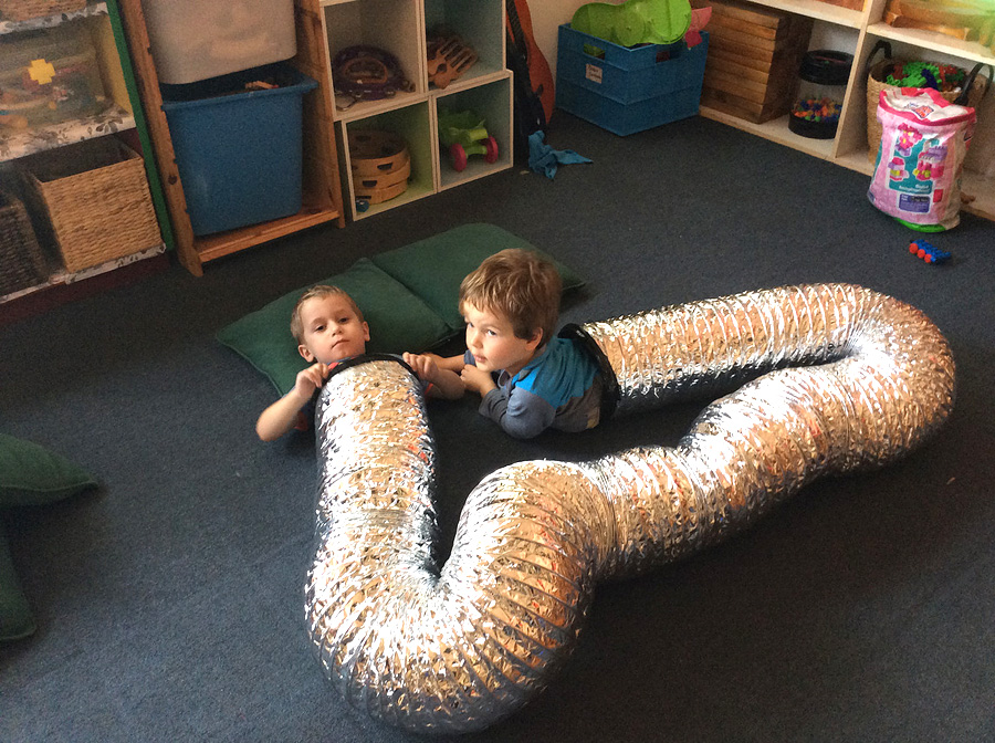 Wiggly WormsPretending to be Worms Using Flexible Air Condition Ducting Pipe